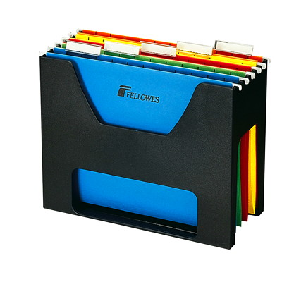Fellowes Black Desktopper File  HIGH IMPACT PLASTIC 5 COLOURED HANGING FOLDERS INCL. FELLOWES
