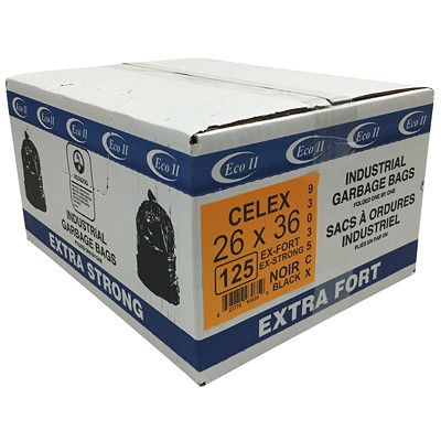 """Eco II Manufacturing Inc. Black Industrial Garbage Bags, Extra Strong, 26"""" x 36"""", 125/Case   ECO II MANUFATURING INC"""