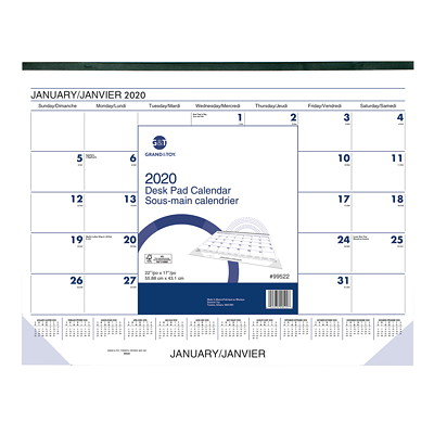 "Grand & Toy Monthly Desk Pad Calendar, 21 3/4"" x 17"", January 2020-January 2021, Bilingual  13 MONTHS BILINGUAL"