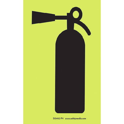 Safety Media Photoluminescent (Glow-In-The-Dark) Fire Extinguisher Sign PHOTOELUMINESCENT-DOESN'T REQU ELECTRICAL POWER BUT USES LIGH