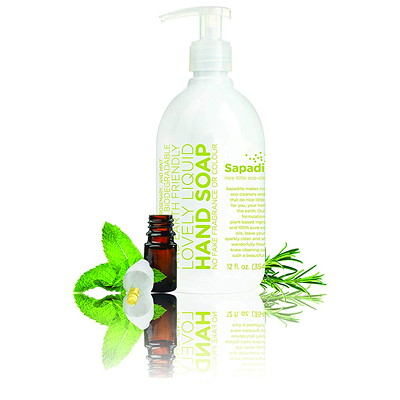 Sapadilla Liquid Hand Soap, Rosemary and Peppermint, 354 mL   ROSEMARY & PEPPERMINT  12 OZ 100% PURE ESSENTIAL OIL BLEND
