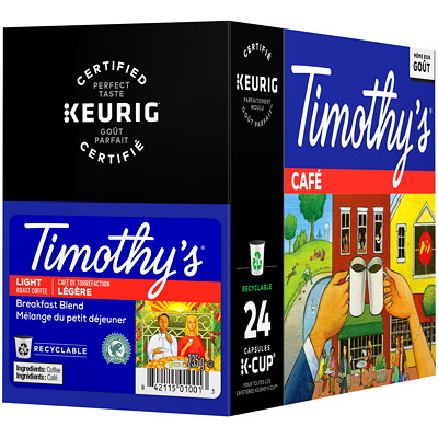 Timothy's Single-Serve Coffee K-Cup Pods, Breakfast Blend, 24/BX