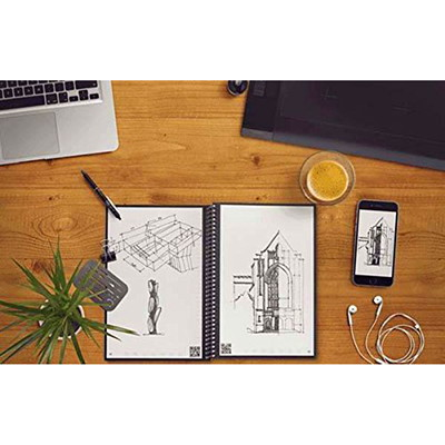 "RocketBook Everlast Letter-Size Notebook, Red, 8 1/2"" x 11"", 36 Pages  SMART REUSABLE NOTEBOOK 8.5X11 SEND NOTES TO CLOUD SERVICES"