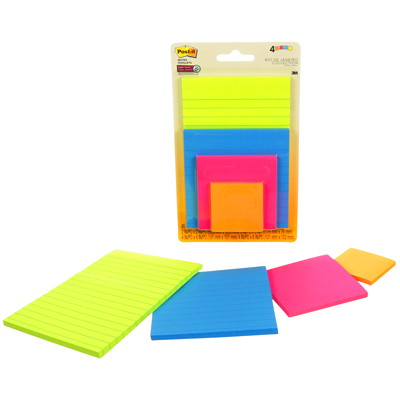 Post-It Super Sticky Notes Combo Pack, Assorted Colours, Lined/Unlined, Assorted Sizes, 4 Pads/PK 2X2;3X3;4X4;4X6 POST IT NOTES 45 SHEETS PER PAD