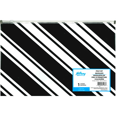 Hilroy Poly Zip Envelope, Black/White Striped, Legal Size   LEGAL SIZE FASHION POLY ASSORTED
