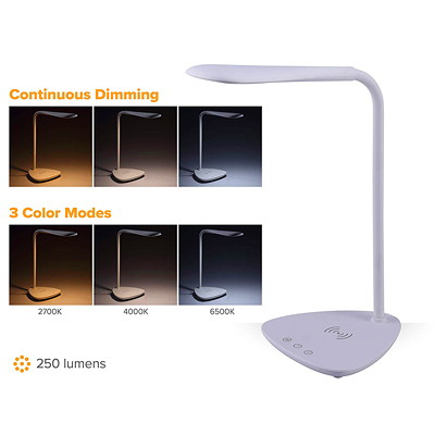 Bostitch Flexible LED Desk Lamp With Wireless Charger, White USB PORT&WIRELESS CHARGING PAD 3 COLOUR TEMP MODE  WHITE
