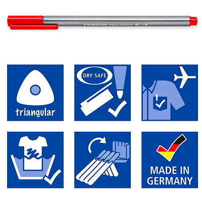 Staedtler Triplus Fineliner 334 Permanent Marker Pens, Assorted Colours, Extra Fine 0.3 mm, 42/PK 42 ASSORTED PENS / BOX