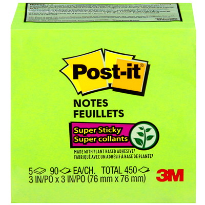 "Post-it Super Sticky Notes, Limeade, 3"" x 3"", 70 Sheets/Pad, 5 Pads/PK 654-5SSLE-C LIMEADE 3INX3IN (76MMX76MM)"