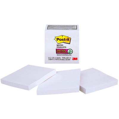 "Post-it Super Sticky Notes, White, 3"" x 3"", 70 Sheets/Pad, 5 Pads/PK 654-5SSW-C WHITE 3INX3IN (76MMX76MM)"