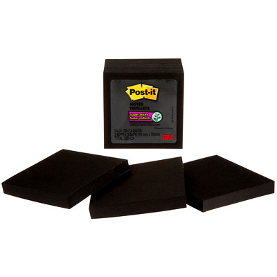 "Post-it Super Sticky Notes, Black, 3"" x 3"", 70 Sheets/Pad, 5 Pads/PK 654-5SSSC-C BLACK 3INX3IN (76MMX76MM)"