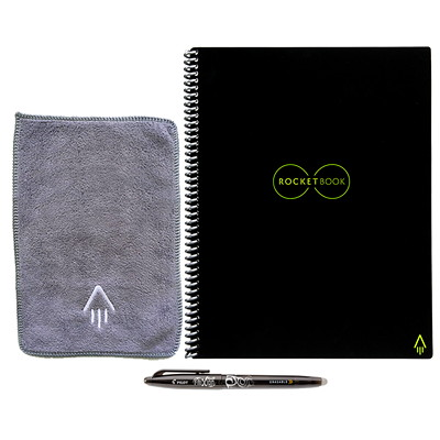 "RocketBook Everlast Letter-Size Notebook, Black, 8 1/2"" x 11"", 36 Pages  SMART REUSABLE NOTEBOOK 8.5X11 SEND NOTES TO CLOUD SERVICES"