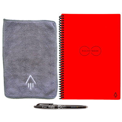 """RocketBook Everlast Executive Notebook, Red, 6"""" x 8 4/5"""", 32 Pages   SMART REUSABLE NOTEBOOK 6X8.8 SEND NOTES TO CLOUD SERVICES"""