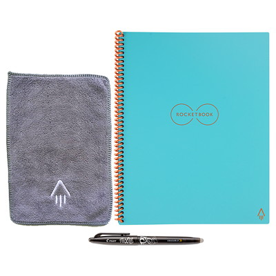 """RocketBook Everlast Letter-Size Notebook, Teal, 8 1/2"""" x 11"""", 36 Pages  SMART REUSABLE NOTEBOOK 8.5X11 SEND NOTES TO CLOUD SERVICES"""