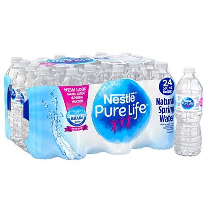 Nestle Pure Life Bottled Natural Spring Water, 500 mL, 24/CS BOTTLED WATER  24/CS