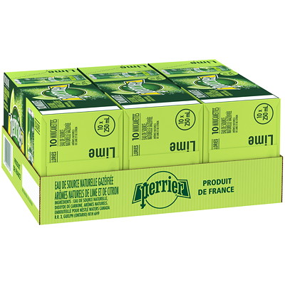 Perrier Sparkling Water, Lime Flavour, Slim Cans, 250 mL, 10/PK LIME 10 X 250ML
