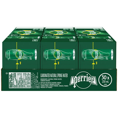 Perrier Sparkling Water, Slim Cans, 250 mL, 10/PK SPARKLING WATER  10/CASE