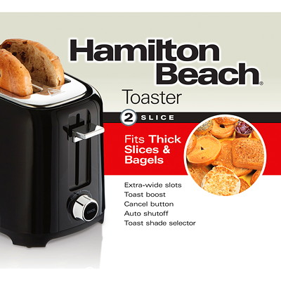 Hamilton Beach 2-Slice Toaster, Black  BLACK W/ CHROME