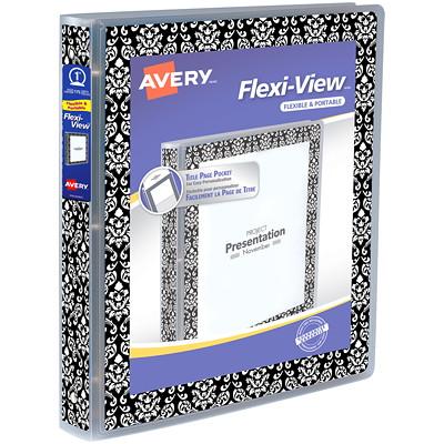 """AVERY RELIURE FLEXI-VIEW 1""""  AVEC ANNEAUX RONDS BLANC & NOIR"""