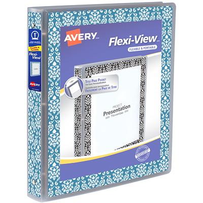 "Avery 1"" Flexi-View Round-Ring Binder, Blue/White Damask 1""  ROUND RINGS BLUE & WHITE"