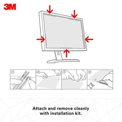 """3M Black Frameless Privacy Screen Filter For 21 1/2"""" Widescreen LCD Monitor"""