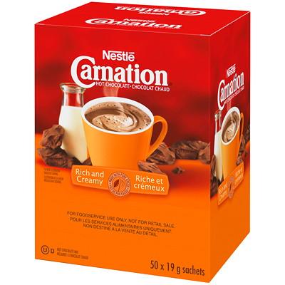 Nestlé Carnation Single-Serve Hot Chocolate, 19 g, 50/BX 50 PACKS PER BOX SINGLE SERVE PORTION CONTROLLED