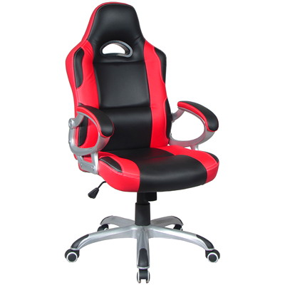 TygerClaw Executive High-Back Gaming-Style Chair, Black/Red  BLACK+RED DURABLE SMOOTH BLACK LEATHER
