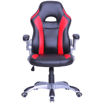 TygerClaw Executive Mid-Back Gaming Style Office Chair, Black and Red BLACK+RED DURABLE SMOOTH BLACK LEATHER