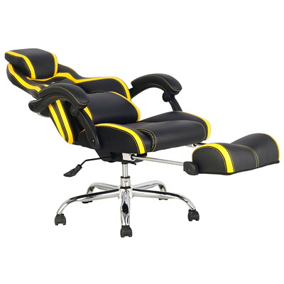 TygerClaw Executive High-Back Office Chairs, Black/Yellow, PU Leather  YELLOW DURABLE PU & PVC LEATHER