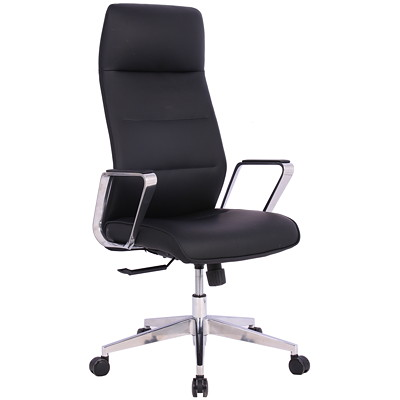 TygerClaw Executive Office Chair, High-Back, Black, PU Leather BLACK UPHOLSTERED IN MICROFIBER PU