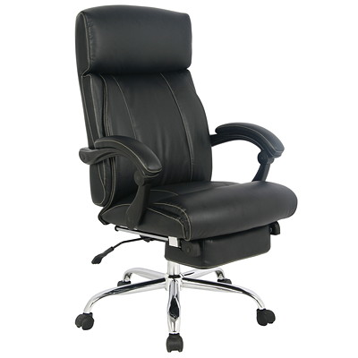 TygerClaw Executive Office Chair, High Back, Black, PU Leather  BLACK DURABLE SMOOTH BLACK LEATHER