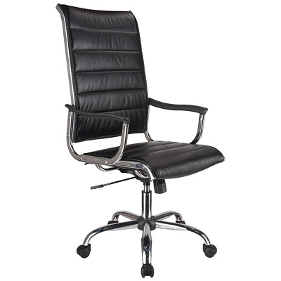 TygerClaw Office Chair, High-Back, Black, Bonded Leather BLACK DURABLE SMOOTH BONDED LEATHER