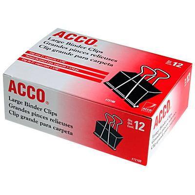 "Acco Fold-Back Binder Clips, Black/Silver, 2"" Large, 12/PK 1-1/8"""