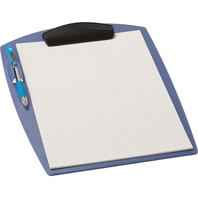 Storex Clipboard with Pen Holder, Blue, Letter Size BLUE  LETTER SIZE