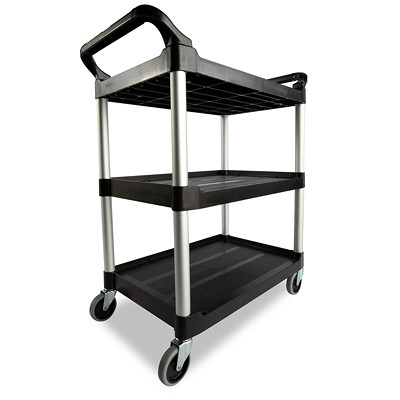 "Rubbermaid Commercial 3424-88 Economy Utility Cart with 4"" Swivel Casters, Black, 200 lb. Capacity, 33 5/8""L x 18 5/8""W x 37 3/4""H  200LB METAL UPRIGHTS & 4"" CAST BLACK"