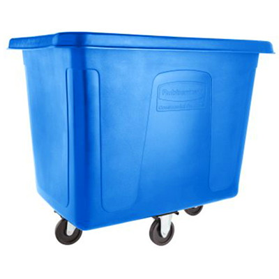 Rubbermaid Commercial Cube Truck, Blue, 16 cu ft, 500 lb Load Capacity 500 LB. CAPACITY  43-3/4IN. X 31IN. X 37IN.  BLUE