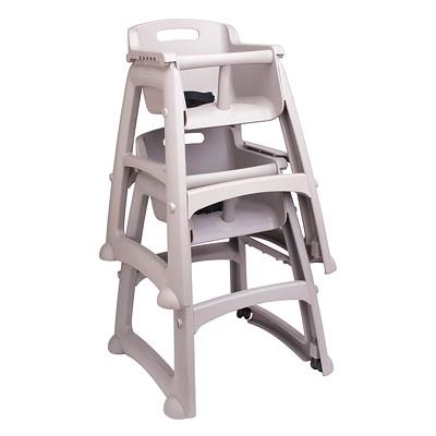 Chaise haute à roulettes Sturdy Chair Rubbermaid AVEC DES ROUES GRIS