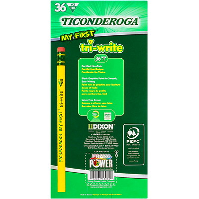 Dixon Ticonderoga My First Tri-Write Triangular Primary Size Pencils With Eraser, #2 HB, Yellow, 36/BX 36 COUNT BOX