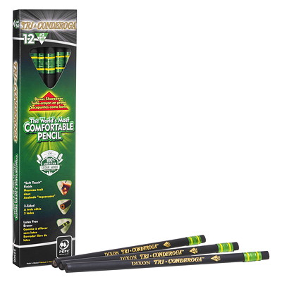 Dixon Tri-Conderoga Triangular-Shaped Standard Size Pencils, #2 HB, Black, 12/BX 12 COUNT BOX
