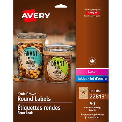"Avery 22813 Print-to-the-Edge Permanent Round Labels, Kraft Brown, 3"" Diameter Round, 6 Labels/Sheet, 15 Sheets/PK 3"" ROUND 90/PK KRAFT BROWN LASER/INKJET"