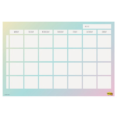 "Post-it Super Sticky Weekly Planner, 18"" x 12"", Gradient Blue/Green, English 730-CAL-GRDNT 17-15/16""X11-15/16"""