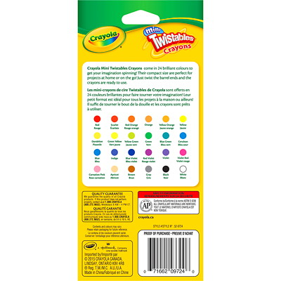 Crayola Mini Twistables Crayons, Assorted Colours, 24/PK