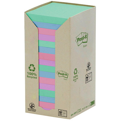 """Post-it 100% Recycled Notes Tower Pack, Pastel Rainbow Colours, 3"""" x 3"""", 100 Sheets/Pad, 16 Pads/PK PASTEL COLOURS 3X3 100\% RECYCLED BLUE ANGEL CERTIFIED"""
