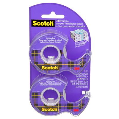 Scotch Gift Wrap Tape, 19 mm x 15.2 m, 2/PK 15DM-2-ESF 0.75INX600IN (19MMX15.2M)