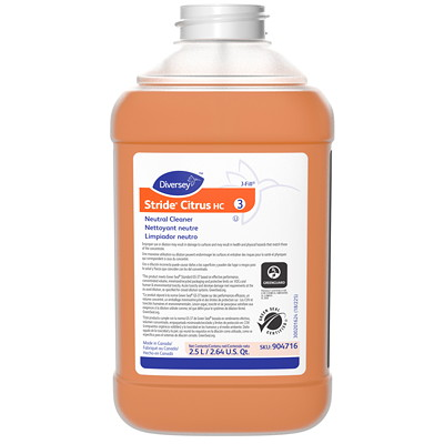 Diversey Stride Citrus HC Neutral Cleaner, 2.5 L J-Fill, 2/CT