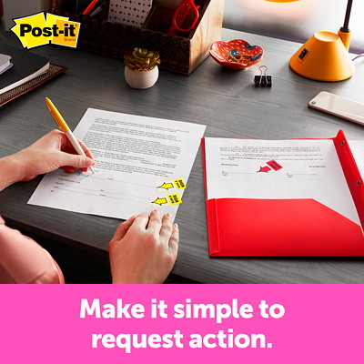 "Post-it 1"" Pre-Printed ""Sign Here"" Arrow Message Flags in a Desk-Grip Dispenser, Red, 200 Flags/PK RED COLOUR 1"" X 1.7"""