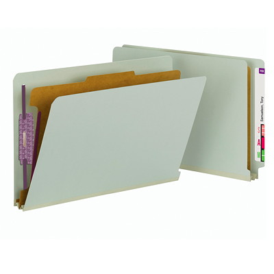 """Smead End Tab Classification Folders with SafeSHIELD Fasteners-1 divider, 2"""" Expansion, Legal Size, 10/BX SAFESHIELD FASTENERS LEGAL/GRAY/GREEN"""