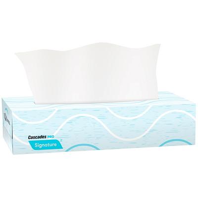 Cascades PRO Signature 2-Ply Flat Box Facial Tissues, White, 100 Sheets/BX, 30 Boxes/CS 2 PLY  100 SHEETS  30/CASE