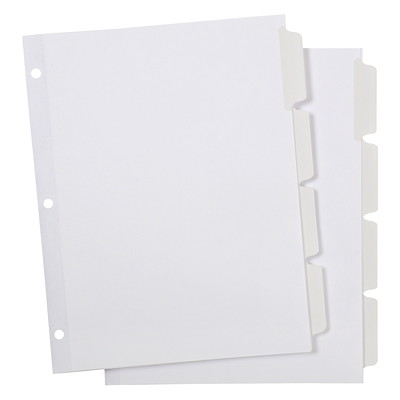 """Grand & Toy Write-On Index Dividers, White, 8 1/2"""" x 11"""", 4-Tabs/ST, 2 Sets/PK 4 POSITION 8 TAB 10% PCW"""