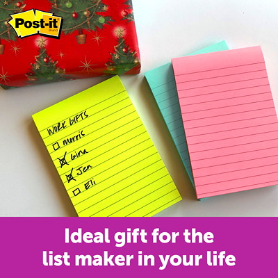 "Post-it Super Sticky Notes in Miami Colour Collection, Lined, 4"" x 6"", 90 Sheets/Pad, 3 Pads/PK  LINED  4X6  3PACK"