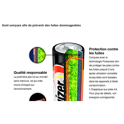Piles alcalines AAA longue durée Energizer Max, emb. de 8 (E92BP8)